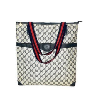 Authentic Gucci navy blue & grey monogram tote
